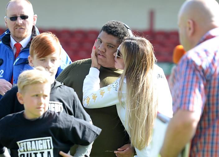 WALSALL, ENGLAND - MAY 13:  Katie Price and Son, Harvey attend Sellebrity Soccer Match in aid of Smile For Joel and Compton Hospice at Banks' Stadium on May 13, 2017 in Walsall, England.  (Photo by Eamonn M. McCormack/Getty Images)