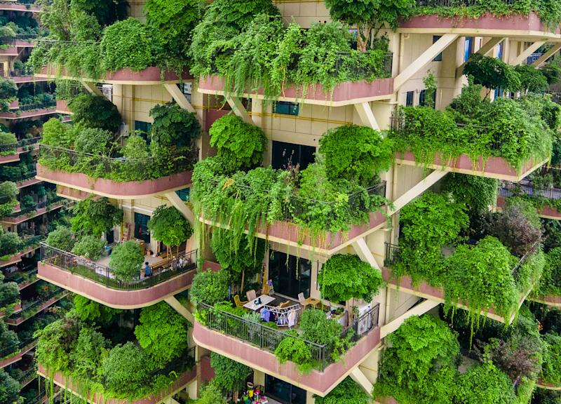 CHENGDU, CHINA - SEPTEMBER 15, 2020 - Balconies at Qiyi City Forest Garden residential buildings complex are overrun by plants in Chengdu City, Sichuan Province, China, 15 September 2020. - PHOTOGRAPH BY Costfoto / Barcroft Studios / Future Publishing (Photo credit should read Costfoto/Barcroft Media via Getty Images)