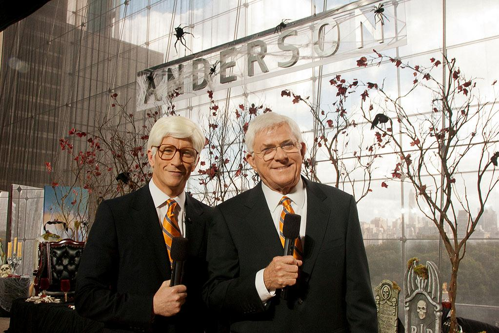 """Anderson Cooper dresses up as Phil Donahue with Surprise Guest Phil Donahue for the Halloween episode of """"Anderson."""""""