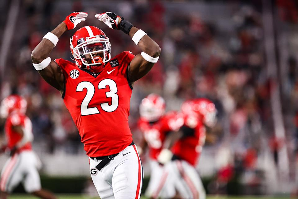 Georgia DB Mark Webb celebrates after making a play against Auburn. (Photo by Tony Walsh/Collegiate Images/Getty Images)