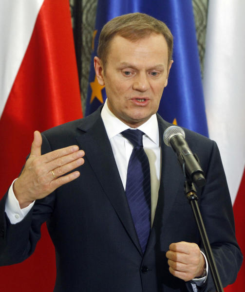 Poland's Prime Minister Donald Tusk announces a compromise deal on how to overhaul the pension system, in Warsaw, Poland, on Thursday, March 29, 2012. Poland's Prime Minister Donald Tusk's Civil Platform Party, and Deputy Prime Minister Waldemar Pawlak's more welfare-oriented Polish Peoples' Party announced changes to the pension system in what they said would help bring down state spending. (AP Photo/Czarek Sokolowski)