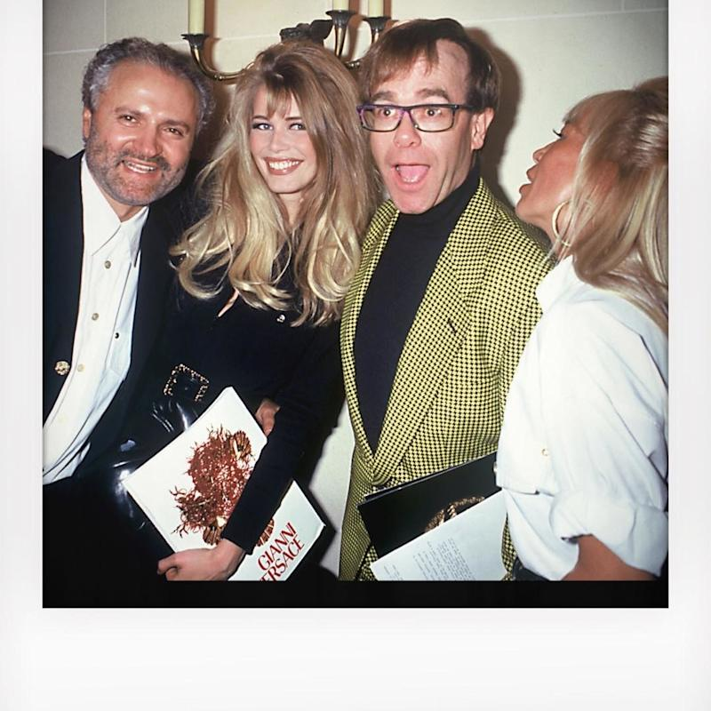 Claudia Schiffer posted the best throwback photo in honor of Gianni Versace: an image of herself with the late Versace designer, his sister Donatella, and the musician Elton John. Then, Schiffer walked in Versace's Spring 2018 show.