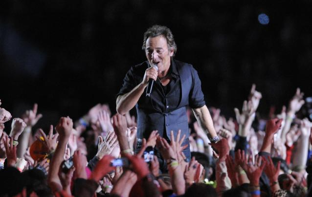 FILE - In this Feb. 1, 2009 file photo, Bruce Springsteen performs during halftime of the NFL Super Bowl XLIII football game between the Arizona Cardinals and the Pittsburgh Steelers in Tampa, Fla. This year's Super Bowl performer will Bruno Mars. (AP Photo/Mark J. Terrill, File)