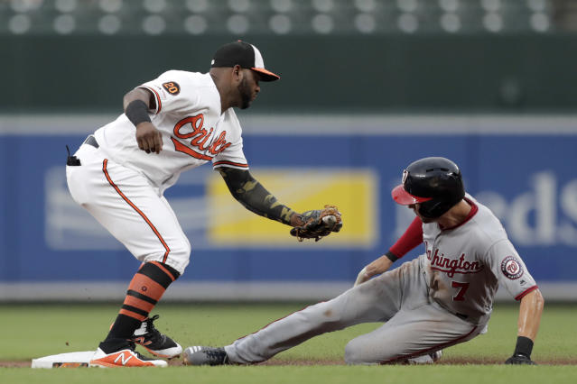 Washington Nationals' Trea Turner (7) steals second base under the tag of Baltimore Orioles shortstop Jonathan Villar during the first inning of a baseball game, Tuesday, July 16, 2019, in Baltimore. (AP Photo/Julio Cortez)