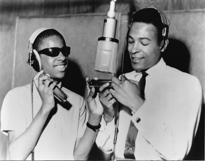 Stevie Wonder, left, with Marvin Gaye in a Motown studio in Detroit in 1965. Founder Berry Gordy came to see the label as a force for integration | Gilles Petard—Redferns/Getty Images