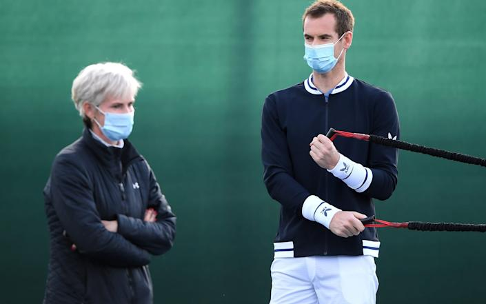 LONDON, ENGLAND - JULY 28: Judy Murray, Coach of the Union Jacks with Andy Murray during day two of the St. James's Place Battle Of The Brits Team Tennis at National Tennis Centre on July 28, 2020 in London, England. (Photo by Alex Davidson/. for Battle Of The Brits) - Alex Davidson/. Europe