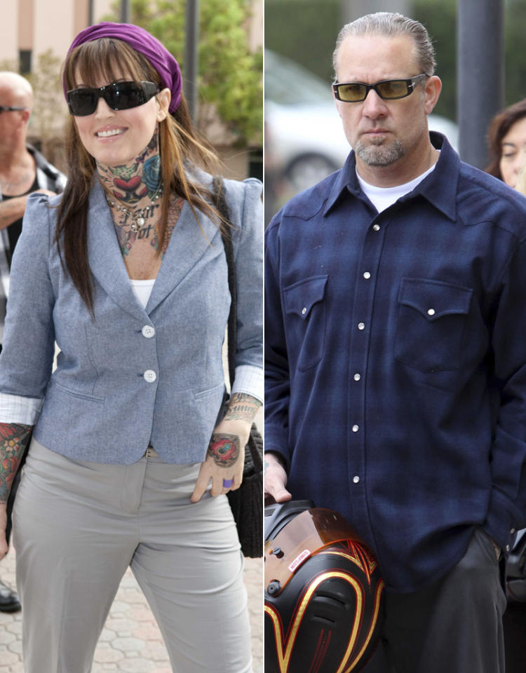 Jesse James and Janine Lindemulder arrive at Orange County Family Court.
