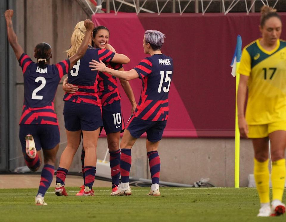 Carli Lloyd (10) celebrates after scoring a goal against Australia during the bronze-medal game at the Tokyo Olympics.