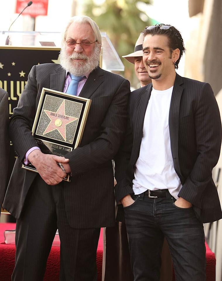 """Donald Sutherland was honored Wednesday with a star on the Hollywood Walk of Fame right next to his son Kiefer Sutherland's. Due to work commitments in NYC, Kiefer was unable to make the ceremony, but had Donald's """"Horrible Bosses"""" co-star Colin Farrell read a tribute for him in his absence. Kiefer's note said: """"I selfishly wanted to be there to tell you how proud I am to have you as my father and how even more proud I am to be your son."""" Michael Tran/<a href=""""http://www.filmmagic.com/"""" target=""""new"""">FilmMagic.com</a> - January 26, 2011"""