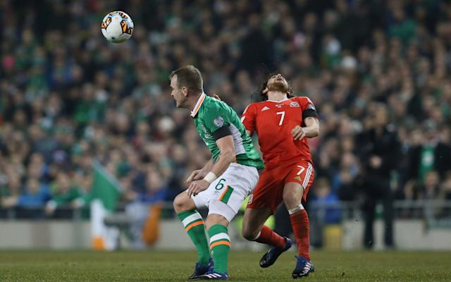 <span>Glenn Whelan caught Joe Allen with a swinging forearm</span> <span>Credit: Paul Currie/BPI/REX/Shutterstock </span>