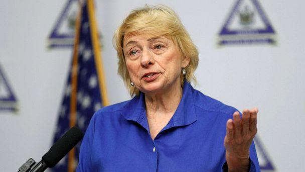 PHOTO: Maine Gov. Janet Mills speaks at a news conference where she announced new plans for the stay-at-home order and other measures to help combat the coronavirus pandemic, April 28, 2020, in Augusta, Maine. (Robert F. Bukaty/AP)