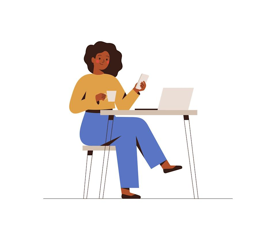 woman happily working by herself