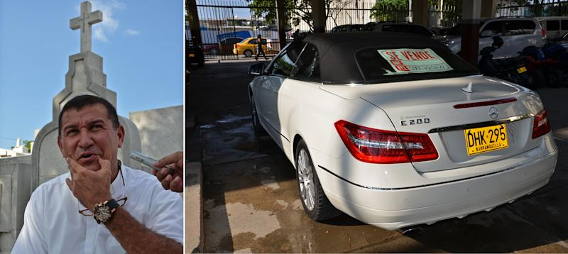 In this two photo combo image, Catholic priest Hernando Fayid speaks during an interview, left, as his white Mercedes Benz E200 convertible bears a for sale sign while parked just outside the San Miguel cemetery in Santa Marta, Colombia, Wednesday, July 10, 2013. Pastor of the cemetery, Father Fayid says he's going to sell his car following Pope Francis' recent statement that it wounded his heart to see a priest in a luxurious car. Fayid told a local news television reporter that he got the car as a gift from his brother. (AP Photo)