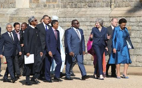 Heads of government join the Commonwealth's Secretary General Baroness Scotland (right) for the Windsor Castle retreat - Credit: PA