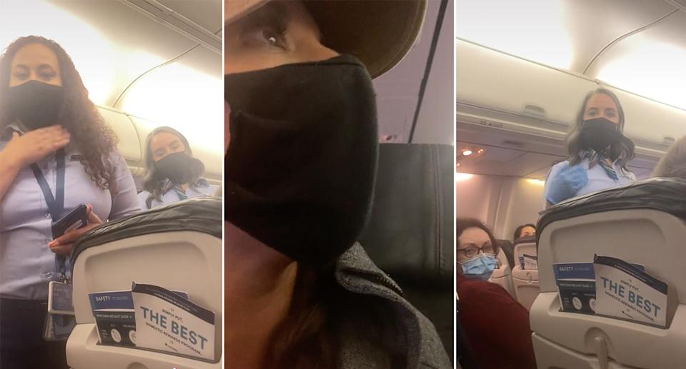 Screenshots taken from the TikTok video showing the flight attendants next to the woman's seat and a close up image of Ms Gamache wearing a plain black mask.