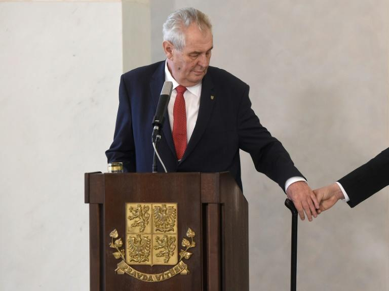 Czech President Milos Zeman speaks during a press conference on March 10, 2017 after he announced  he would run for a second five-year term in a presidential vote scheduled for next year