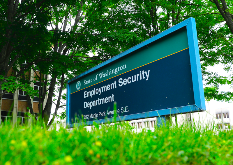 A sign at the headquarters for Washington state's Employment Security Department Tuesday, May 26, 2020, at the Capitol in Olympia, Wash. (AP Photo/Ted S. Warren)