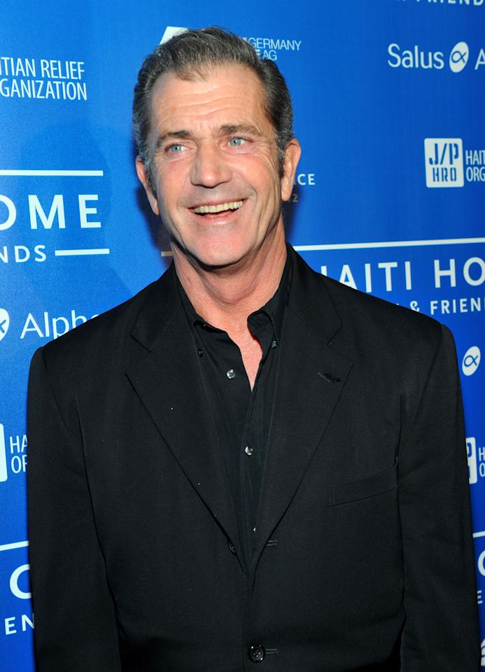 LOS ANGELES, CA - JANUARY 14: Actor Mel Gibson arrives at the Cinema For Peace event benefitting J/P Haitian Relief Organization in Los Angeles held at Montage Hotel on January 14, 2012 in Los Angeles, California.  (Photo by Alberto E. Rodriguez/Getty Images For J/P Haitian Relief Organization and Cinema For Peace)