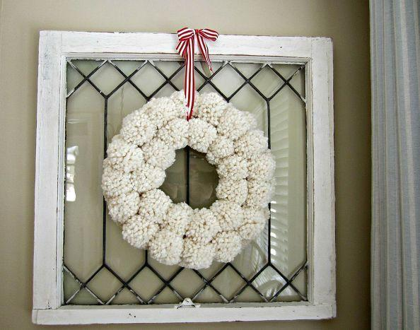 """<p>If you want to take your pom-pom wreath to the next level, make it out of two concentric circles. </p><p><em><a href=""""http://www.theannewithane.com/crafts/anthropologie-inspired-pom-pom-wreath/"""" rel=""""nofollow noopener"""" target=""""_blank"""" data-ylk=""""slk:Get the tutorial at The Anne With an E »"""" class=""""link rapid-noclick-resp"""">Get the tutorial at The Anne With an E »</a></em></p>"""