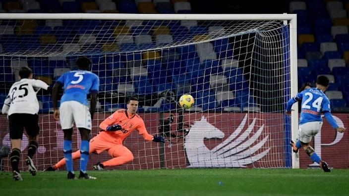 Insigne's (R) winning penalty against Juventus was his 100th Napoli goal