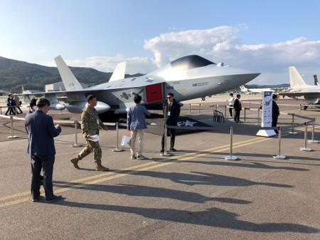 A full-scale mockup of South Korea's KF-X fighter jet is displayed at the Seoul International Aerospace and Defense Exhibition in Seongnam
