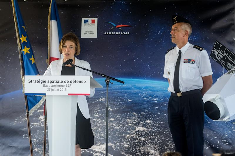 French Minister of Defence Florence Parly present the new Defence space Strategy on July 25, 2019 at the Command of Air Defence and Air Operations (Commandement de la defense aerienne et des operations aeriennes - CDAOA) in the base 942 on the Verdun mount in Poleymieux-au-Mont-d'Or near Lyon, eastern France. (Photo by Nicolas Liponne/NurPhoto via Getty Images)