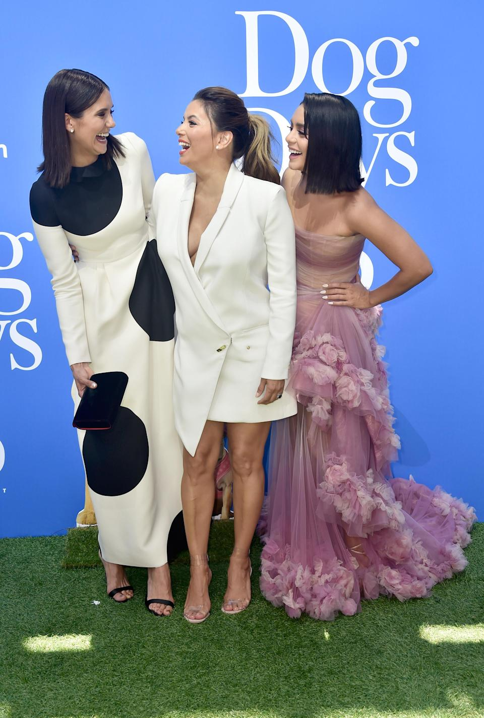 <p>Wearing a mix of Valentino (Nina), Mario Dice (Eva) and Marchesa (Vanessa), the actresses showed off their individual style at the premiere of their new flick. <em>[Photo: Getty]</em> </p>