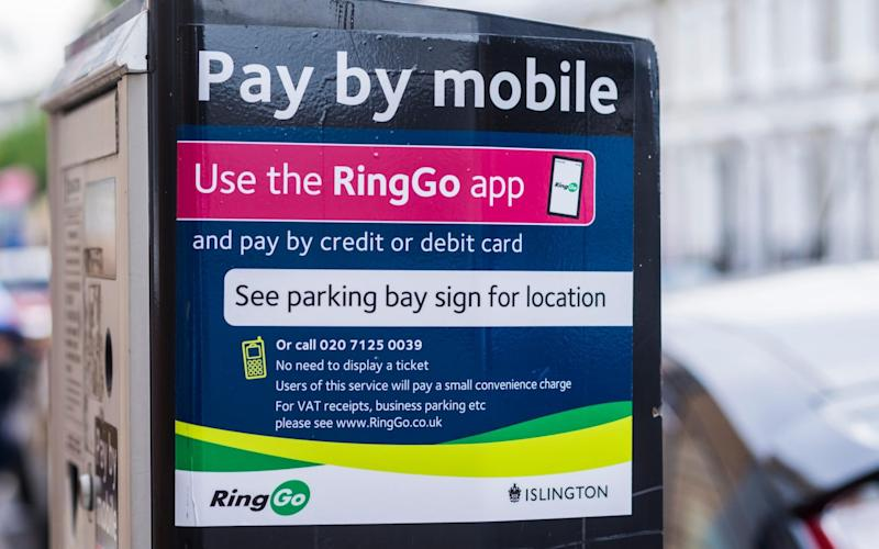 A RingGo parking ticket machine with pay by mobile - www.alamy.com