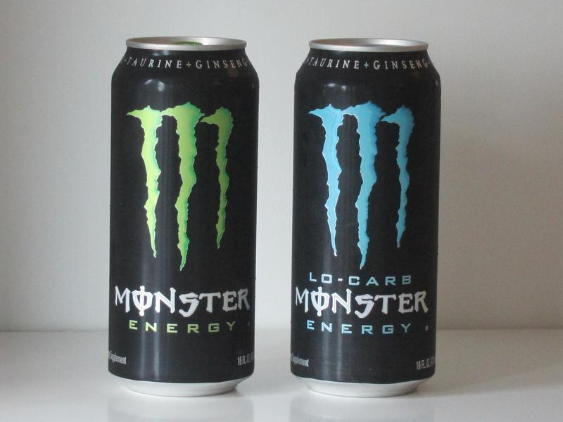 Two cans of Monster Energy drink are pictured in this photo-illustration shot in Los Angeles