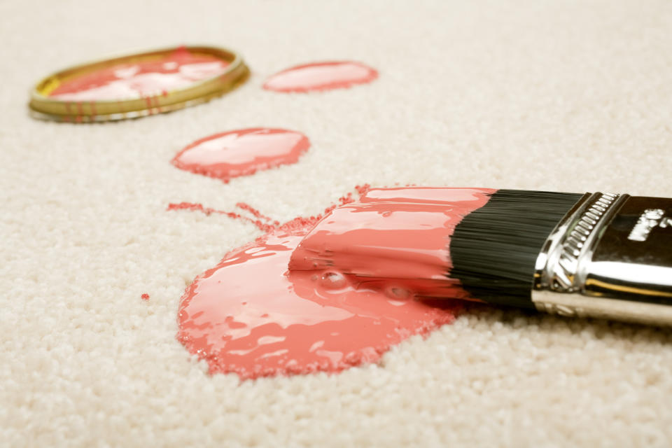 TikTok is loving this simple hack to remove spilled paint from carpets. (Getty Images)