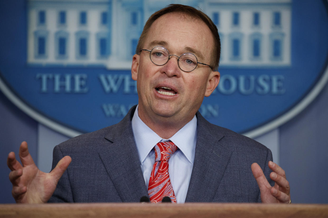 Acting White House chief of staff Mick Mulvaney speaks to reporters on Thursday. (Evan Vucci/AP)