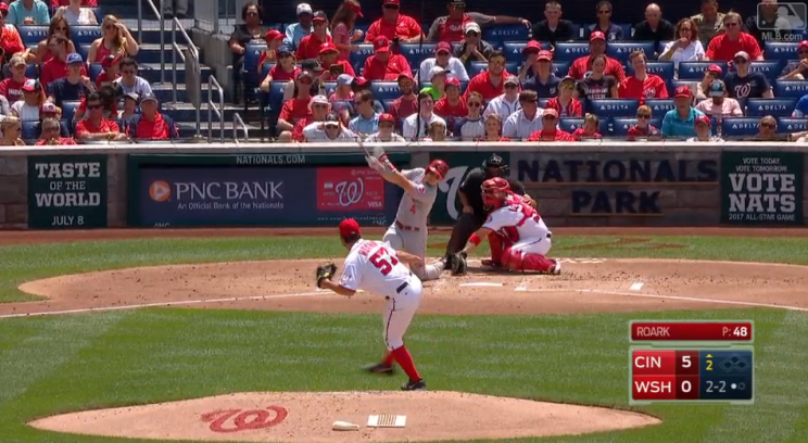 Scooter Gennett hitting a home run from one knee. (MLB.com)