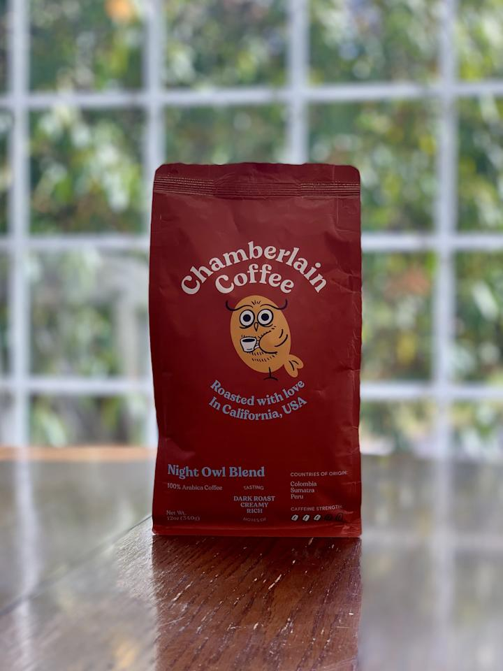 """<p><strong>Basic info:</strong> Dark roast described as """"creamy"""" and rich.""""</p> <p>I was ready for this to be the deepest, darkest roast but I was surprised by the less intense flavor profile. With notes of """"dark chocolate, honey sweetness, and toasted walnuts,"""" <a href=""""https://chamberlaincoffee.com/products/night-owl-blend"""" target=""""_blank"""" class=""""ga-track"""" data-ga-category=""""internal click"""" data-ga-label=""""https://chamberlaincoffee.com/products/night-owl-blend"""" data-ga-action=""""body text link"""">Night Owl Blend</a> is best enjoyed with a little cream.</p>"""