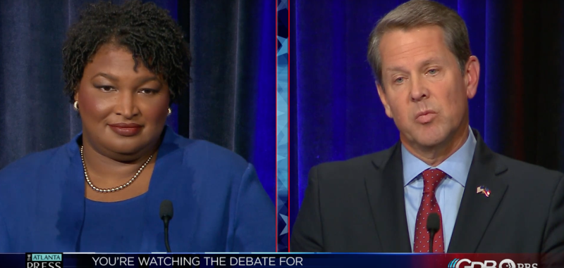 Georgia gubernatorial candidates Stacey Abrams and Brian Kemp spar over voting rights in their first debate. (Georgia Public Broadcasting and the Atlanta Press Club)