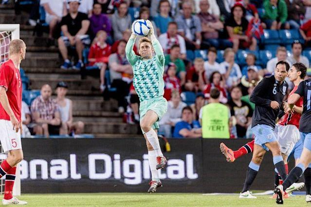 England's goalkeeper Robert Green catches the ball during the friendly football match between Norway and England at Ullevaal stadium in Oslo on May 26, 2012. AF PPHOTO / SCANPIX NORWAY / Krister Soerboe ***NORWAY OUT***Soerboe, Krister/AFP/GettyImages