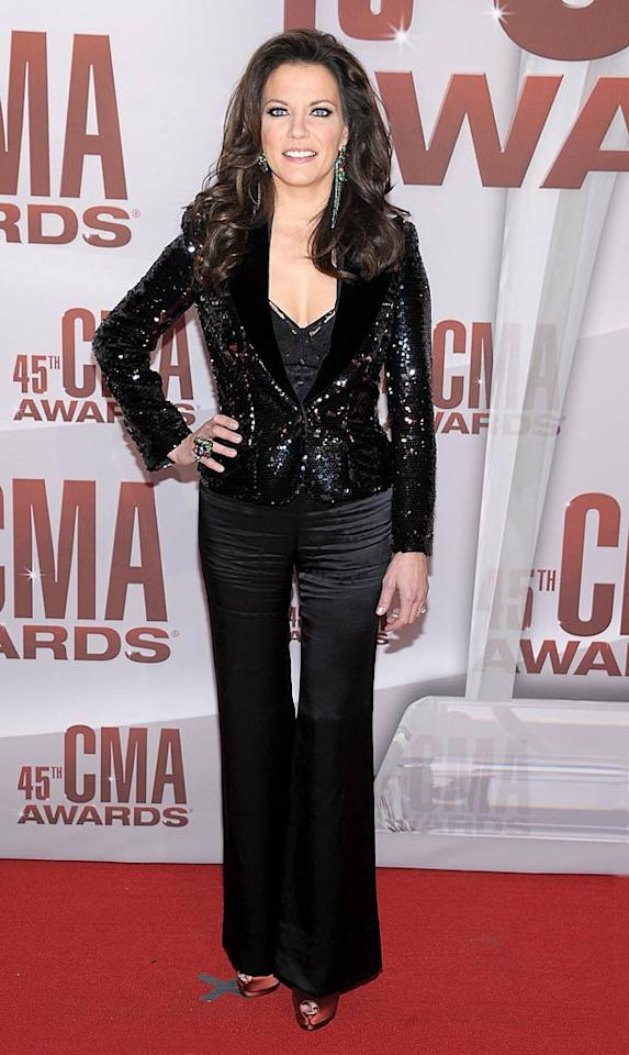 In her sequined blazer and wrinkled satin pants, Martina McBride looked more appropriately dressed to host her own Vegas review as opposed to attending Nashville's party of the year. (11/9/2011)