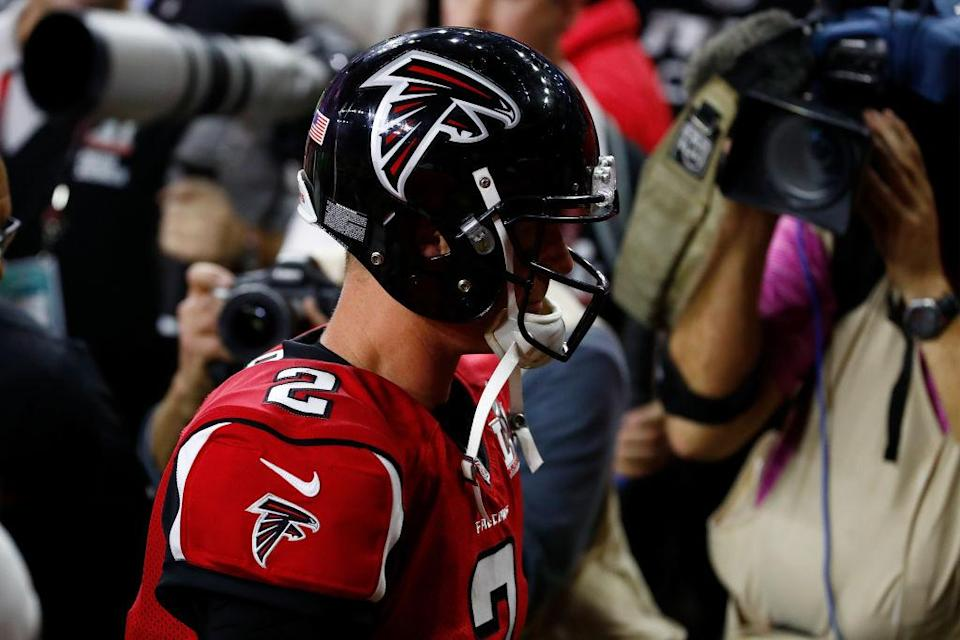Matt Ryan walks off the field after the Falcons lost the Super Bowl. (Getty)