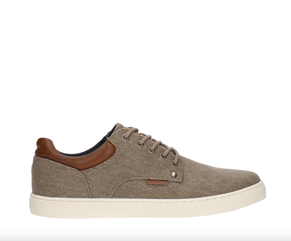 men's brown leather and brown fabric B52 By Bullboxer Lo Casual Sneaker