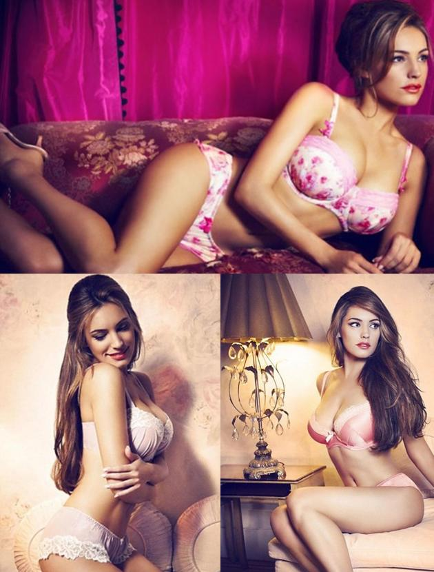 Celebrity advertising campaigns: Kelly Brook poured her curves into an array of lingerie from her line with New Look. And guess what, they'll all available in time from Valentine's.  Send you man this link immediately!