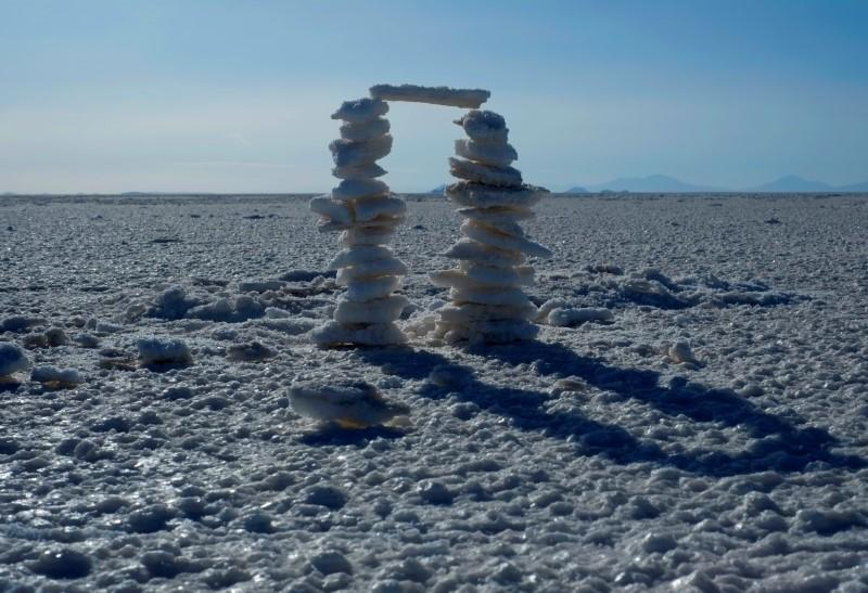 FILE PHOTO: Pieces of salt are seen at  the salt lake of Uyuni
