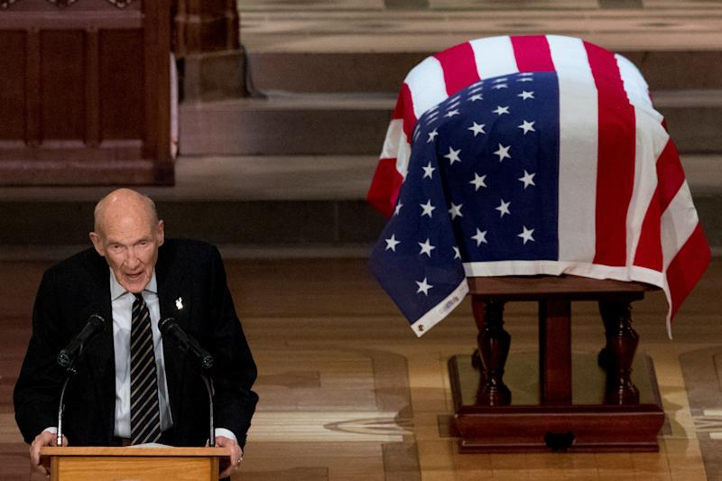 Former Sen. Alan Simpson, R-Wyo, speaks during the State Funeral for former President George H.W. Bush at the National Cathedral, Wednesday, Dec. 5, 2018, in Washington. (AP Photo/Andrew Harnik, Pool) ORG XMIT: DCAH130