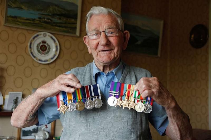 Leslie Stelfox,106 who has had medals stolen from his house in Milton Regis, Kent. See SWNS copy NNmedals: Cruel thieves have stolen medals belonging to a 106-year-old Second World War veteran and his dad - while he was watering his plants. Burglars swiped widower Leslie Stelfox's six medals and his late father Arthur's three medals from World War One from his home - the second time they have been pinched in just five years. Leslie served during the campaign for North Africa as one of the heroic Desert Rats.