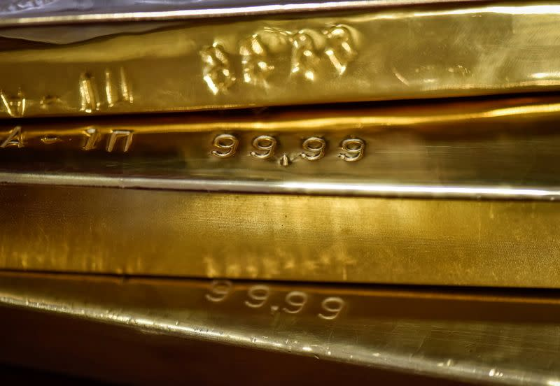 FILE PHOTO: Gold bars are seen at the Kazakhstan's National Bank vault in Almaty