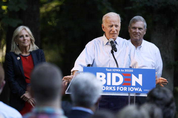 Former Vice President and Democratic presidential candidate Joe Biden speaks during a house party at former Agriculture Secretary Tom Vilsack's house, Monday, July 15, 2019, in Waukee, Iowa. (AP Photo/Charlie Neibergall)