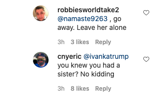 Instagram users didn't hold back in their opinions on Ivanka's comment. Photo: Instagram/tiffanytrump.