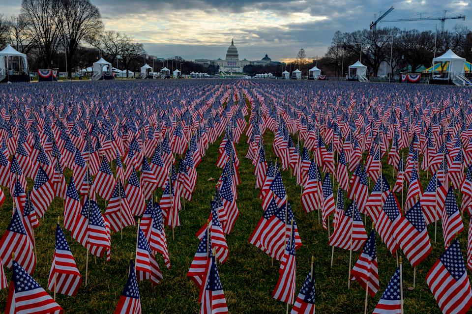 "The ""field of flags"" on the National Mall ahead of Joe Biden's swearing-in inauguration ceremony as the 46th US president (AFP via Getty Images)"