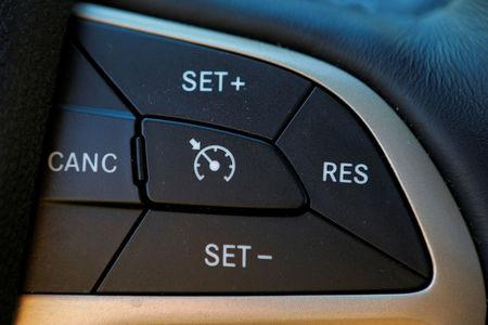 Cruise control on a 2017 Chrysler Jeep Cherokee is seen in a photo illustration in Medford, Massachusetts, U.S., May 24, 2018.  REUTERS/Brian Snyder