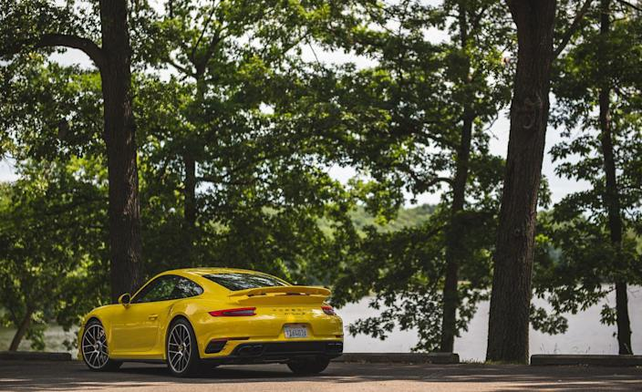 """<p><a href=""""https://www.caranddriver.com/reviews/2018-porsche-911-gt3-manual-test-review"""" rel=""""nofollow noopener"""" target=""""_blank"""" data-ylk=""""slk:The naturally aspirated GT3"""" class=""""link rapid-noclick-resp"""">The naturally aspirated GT3</a> with a seven-speed manual was also a full second slower to 60 and required an additional 1.8 seconds to complete the quarter-mile with a trap speed of 125 mph. </p>"""