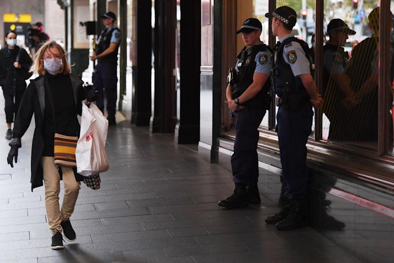 Police on guard in the Sydney CBD on Thursday. Source: AAP