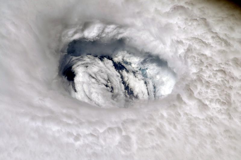 A handout photo made available by NASA shows an image of Hurricane Dorian's eye taken by NASA astronaut Nick Hague, from aboard the International Space Station (ISS), Sept. 2, 2019. (Photo: NASA/Nick Hague)